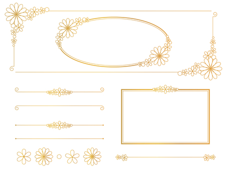 Simple flower decorative frame gold set