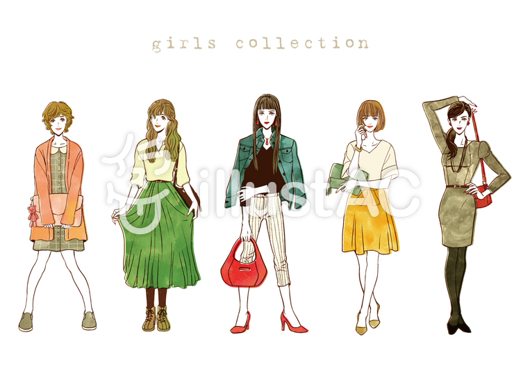 女性ファッション カラーver.イラスト , No 1057415/無料