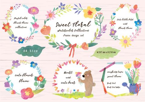 꽃과 동물의 수채화 원형 프레임 A4