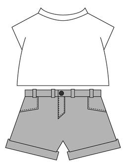 Gray shorts on white T