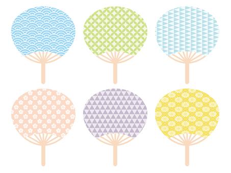 Cute Japanese pattern fan set