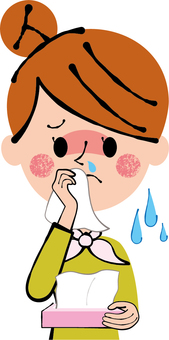 OL woman biting runny nose with cold fever tissue