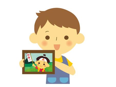 Nursery teacher male picture story show