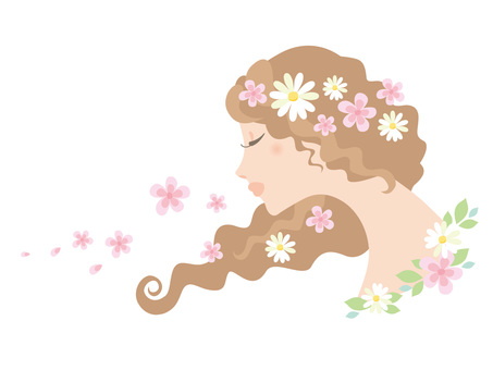 Woman_curly hair and flower decoration_03