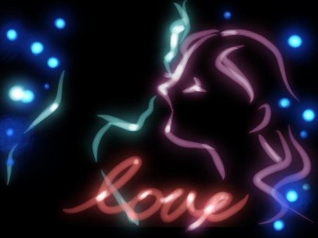 Silhouette kiss profile