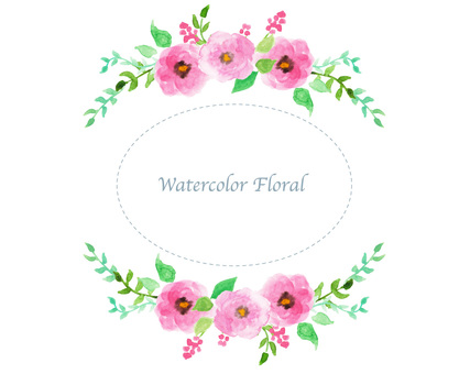 Water color flower frame frame