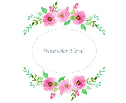 水彩花框架框架