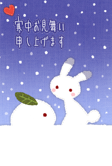 Visiting in the cold (Snow rabbit)