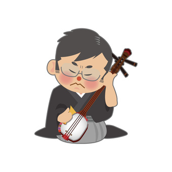 A man playing a shamisen