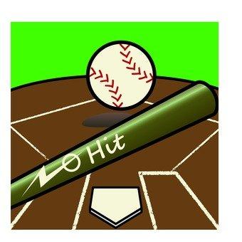 Baseball bat and base and ball