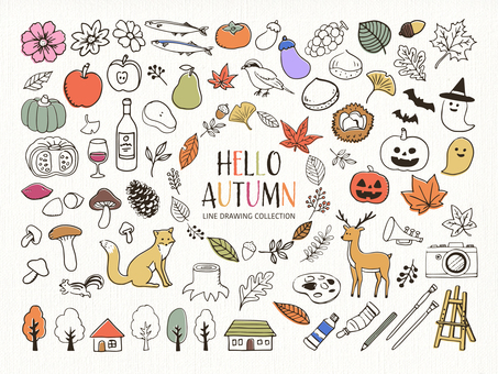 Autumn hand-drawn line art illustration set