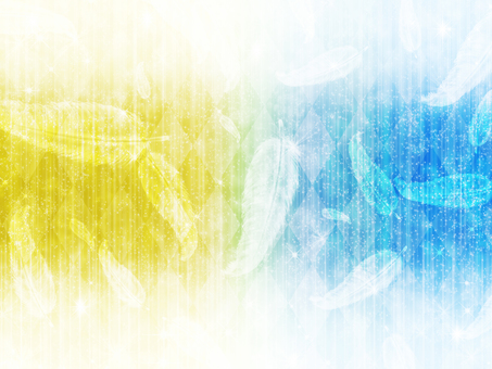 Diamond pattern and feather yellow / light blue background
