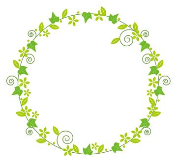 Round flower decorative frame green