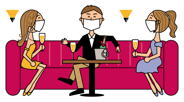 Nightclub customers and clerk_mask