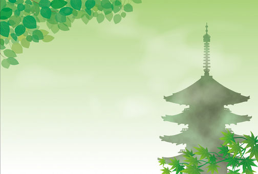Fresh green and five-storied pagoda 3