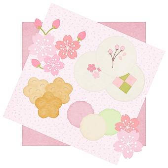 春_和菓子_おかき_お茶会イラスト