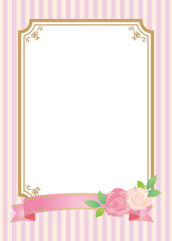 Roses and ribbons decoration frame A4 pink