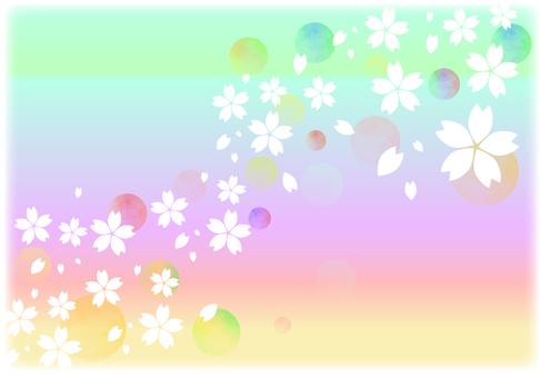 Sakura background 4 - rainbow