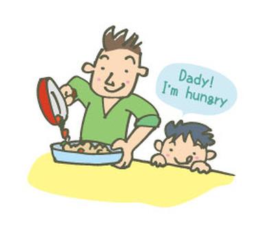 Papa making cooking