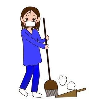 빗자루로 청소