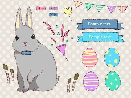 Easter Set B Gray Rabbit