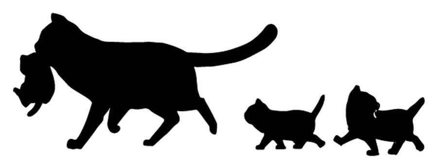 Cat silhouette parent and child