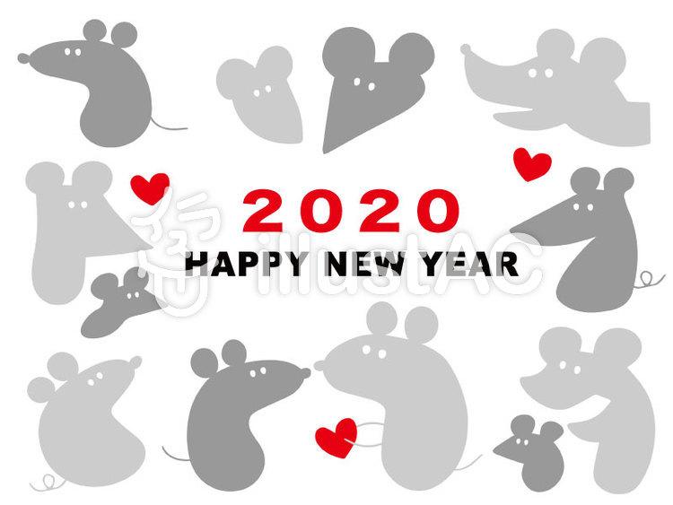 年賀状 ねずみ 2020年 グレーのイラスト