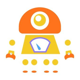 The first robot of yellow and orange