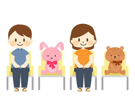 Chairs with stuffed animals to space the seats
