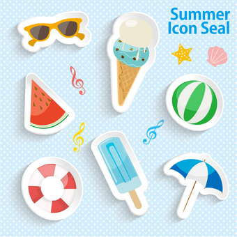 Summer product icon seal set