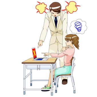 Female elementary school student and male teacher PC lesson 2 minutes