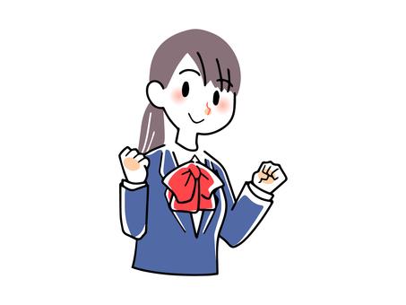 Girl in blazer uniform