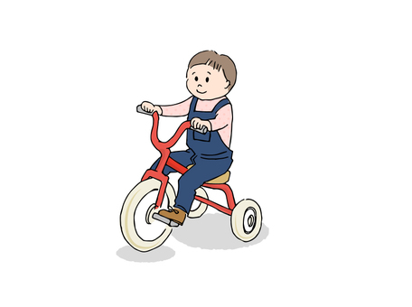 Children riding a tricycle