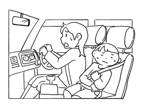 [Black and white] Go to the hospital by car [Line drawing]