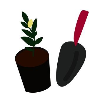 Seedling and shovel