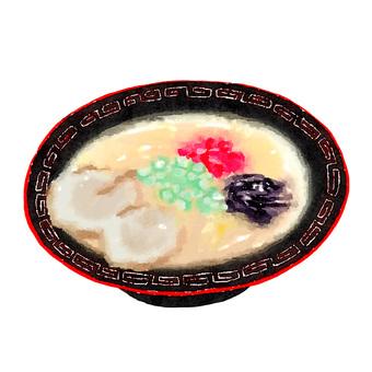 Watercolor food series pork bone ramen