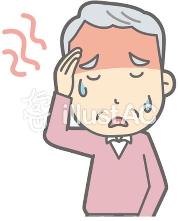 老人男性C-発熱-バストのイラスト