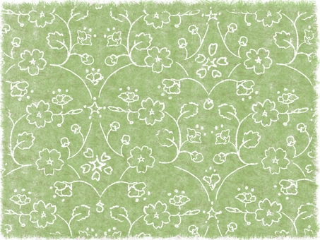 Hand-painted cherry pattern (green)