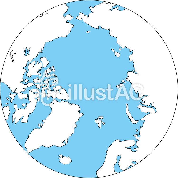 世界地図-北極中心-白地図-海のイラスト