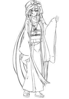 Kashima Maehara, formal dress (line drawing)