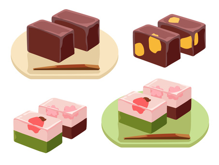 Dishes _ Japanese confectionery 羹 羹 な し no line
