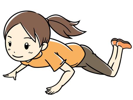 Muscular workout woman doing push ups