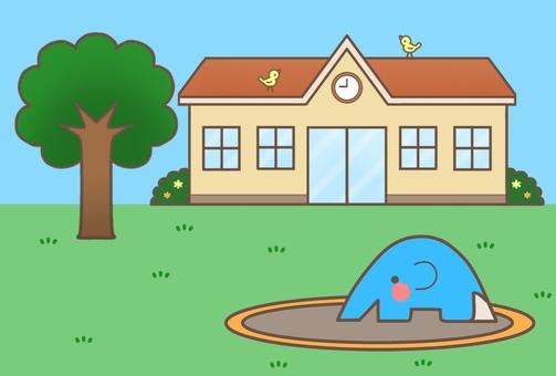 Nursery school / kindergarten (Orange roof + background) 2
