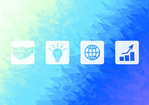 水色のビジネスアイコンデジタル背景素材