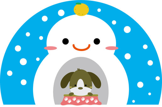 Snowman's Kimakura and a dog entering the kotatsu