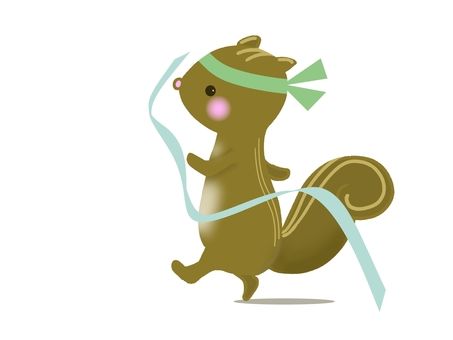 Illustration of a squirrel playing