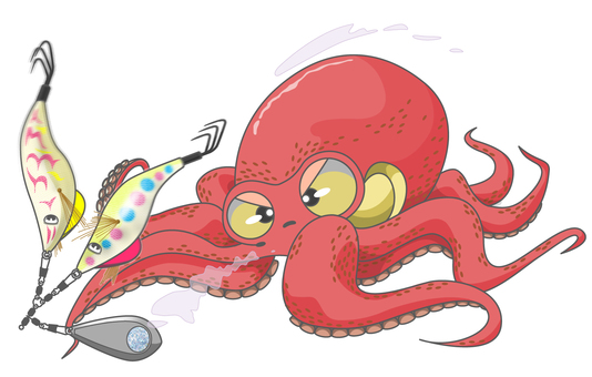 Fishing octopus from the ship