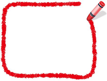 Crayon Handwritten Frame 1 Red