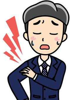 男性会社員サラリーマンの肩こり肩が痛い
