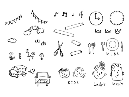 Various hand-drawn icon sets
